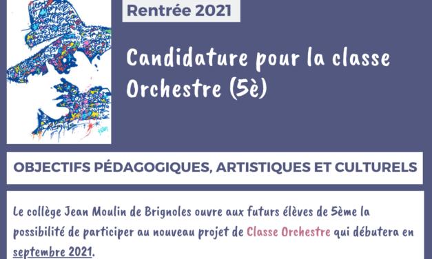 CANDIDATURE CLASSE 5è ORCHESTRE